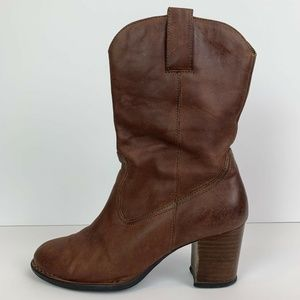 Born Crown Stacked Heel Brown Leather Boots